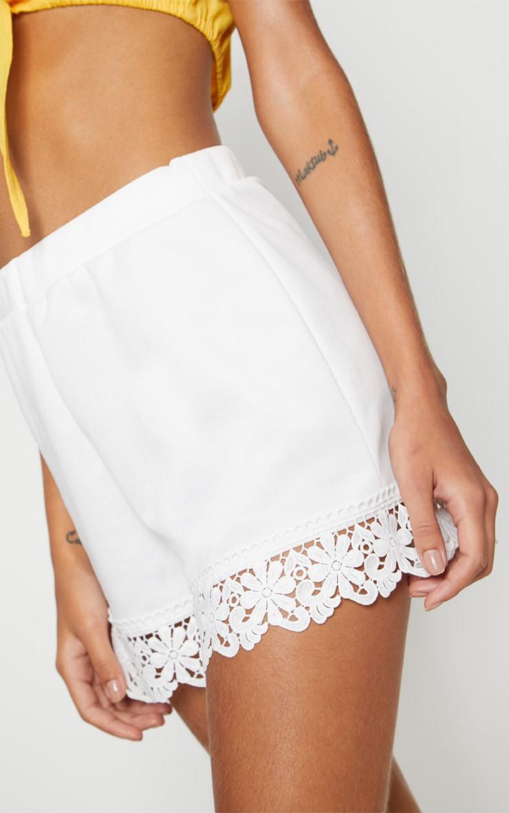 White Crochet Trim Short 6