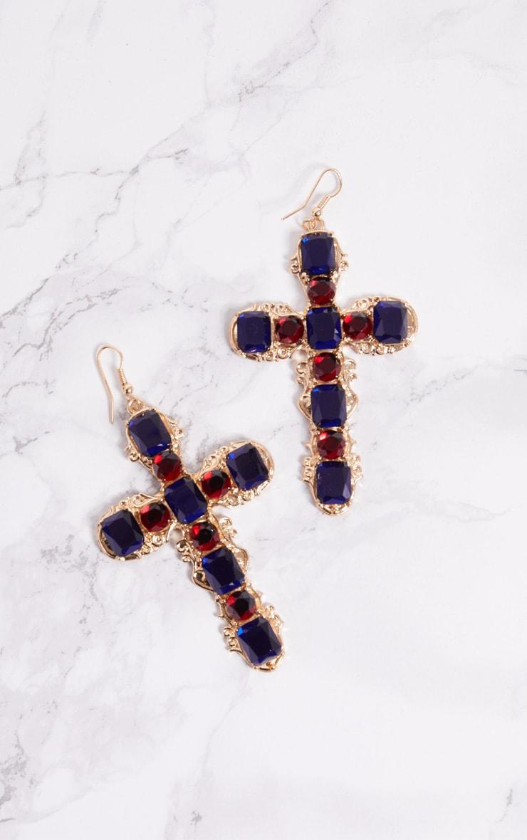 Gold Cross Red Blue Diamante Earrings 3