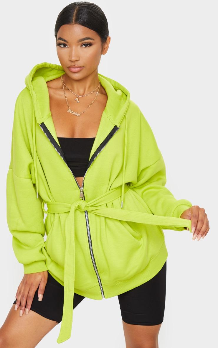 Lime Oversized Longline Zip Belted Hoodie Jacket 1