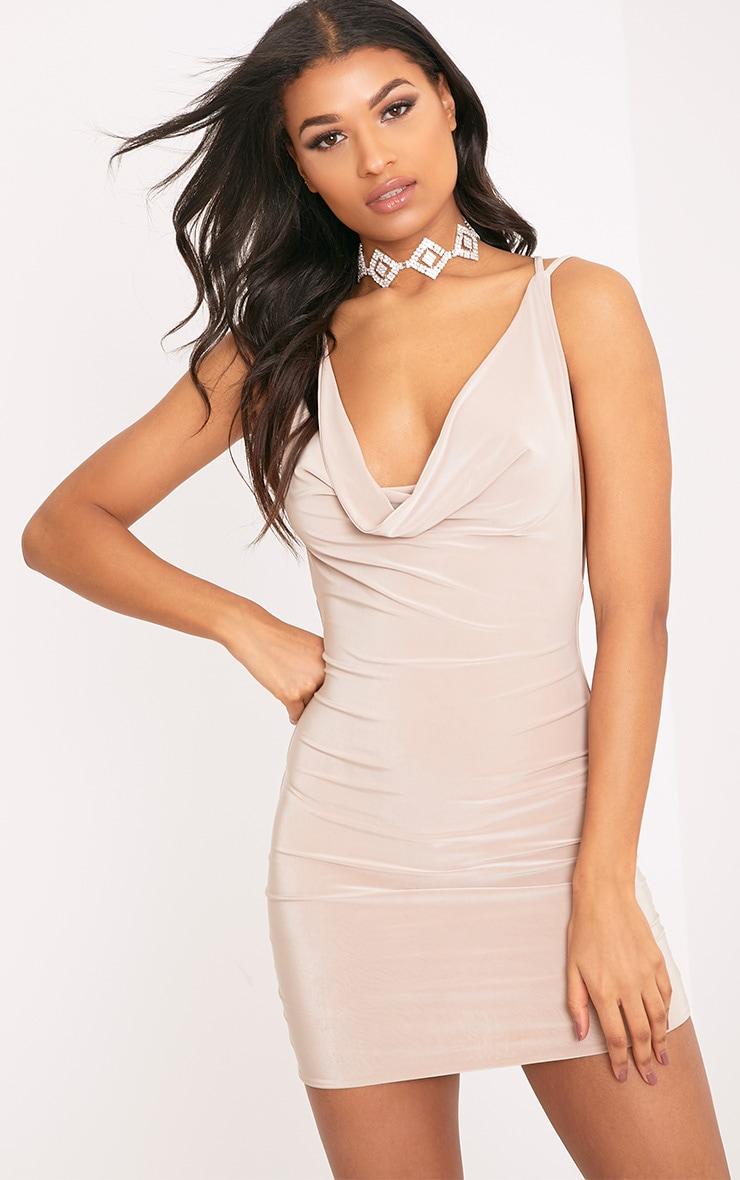 Eleonora Nude Strappy Back Cowl Neck Bodycon Dress 1