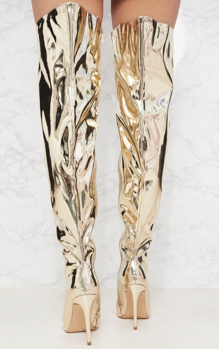 Gold Metallic Thigh High Boot 4
