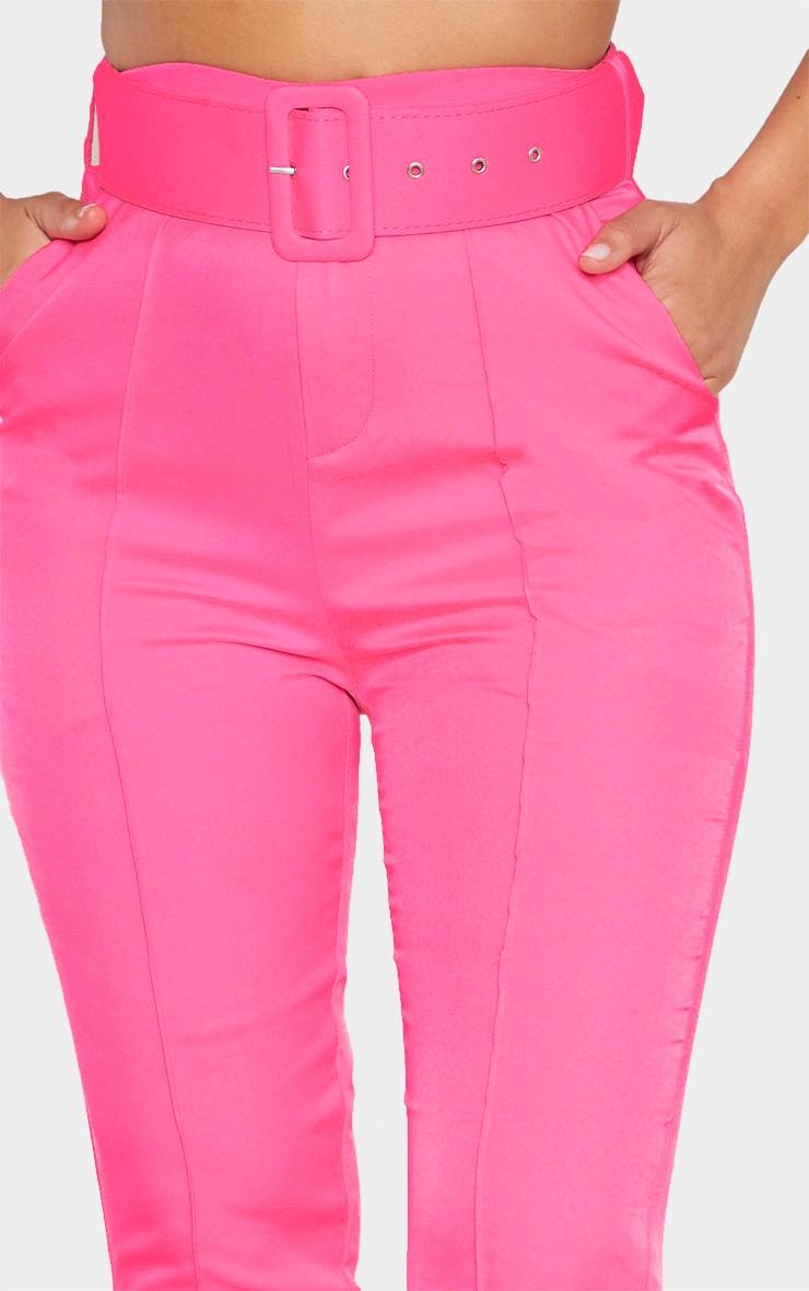 Hot Pink Belt Detail Front Seam Cigarette Pants 5