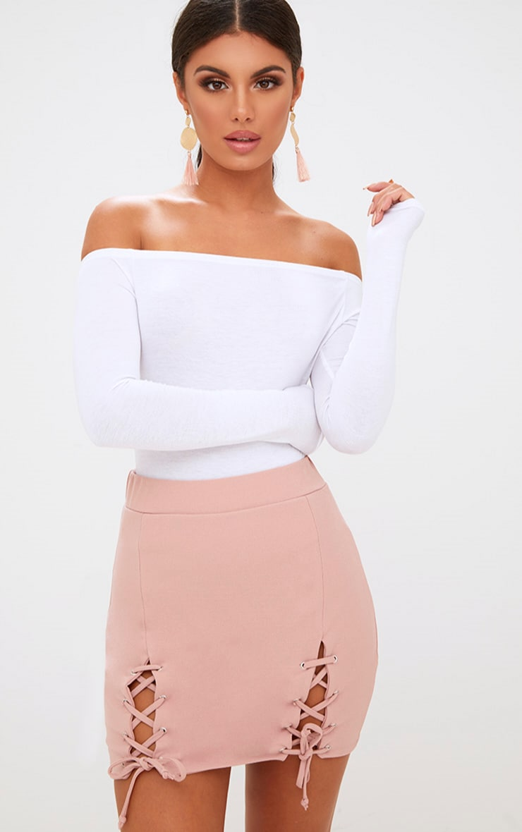 Pink Double Split Lace Up Mini Skirt 1