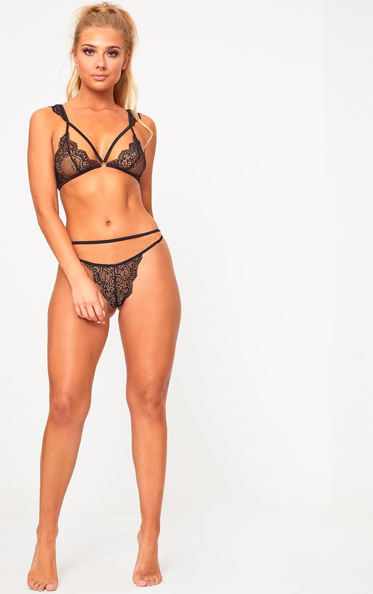Black Lace Shoulder Detail Lingerie Set 3