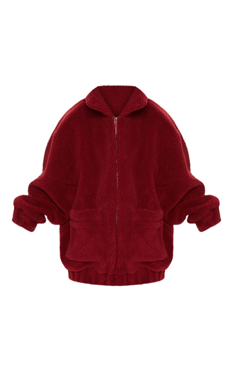Burgundy Oversized Borg Pocket Front Coat  3