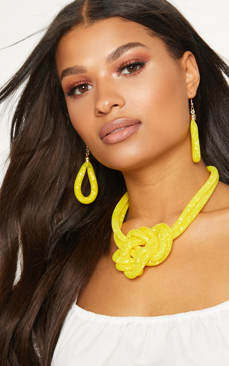 Yellow Bead Knot Necklace 3