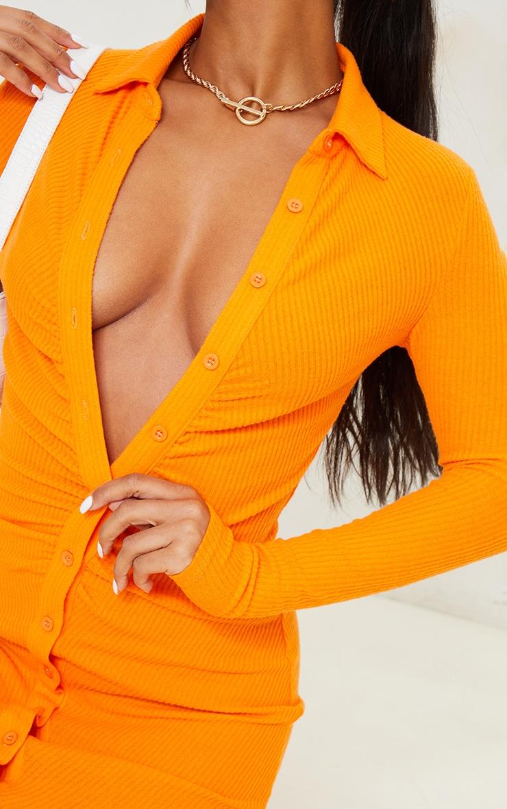 Orange Brushed Rib Long Sleeve Ruched Shirt Dress image 4
