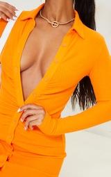 Orange Brushed Rib Long Sleeve Ruched Shirt Dress 4