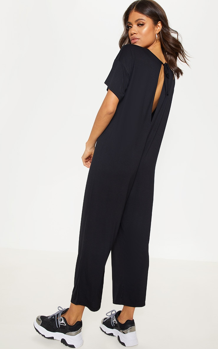 Black Oversized T Shirt Culotte Jumpsuit 2