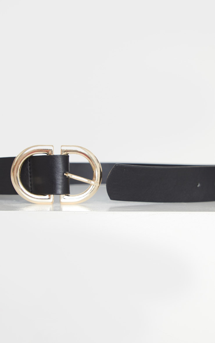 Black PU Gold D Buckle Detail Waist Belt 3