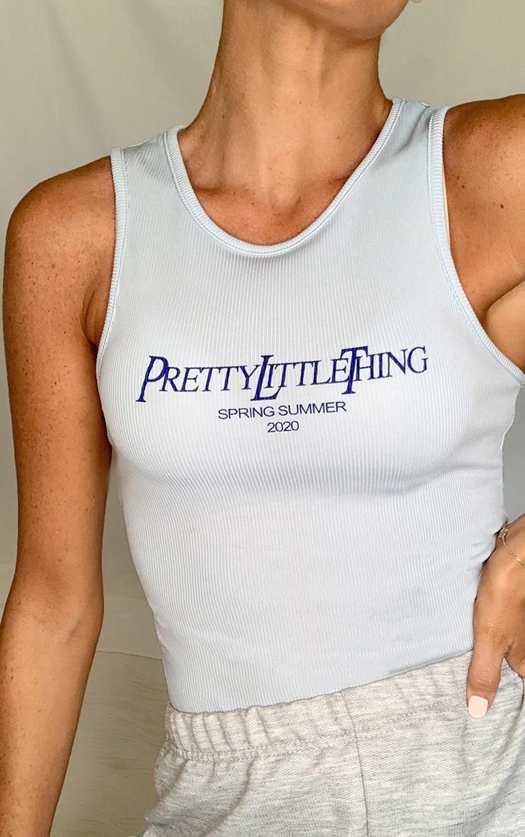 PRETTYLITTLETHING Baby Blue Ss20 Printed Rib Vest 3