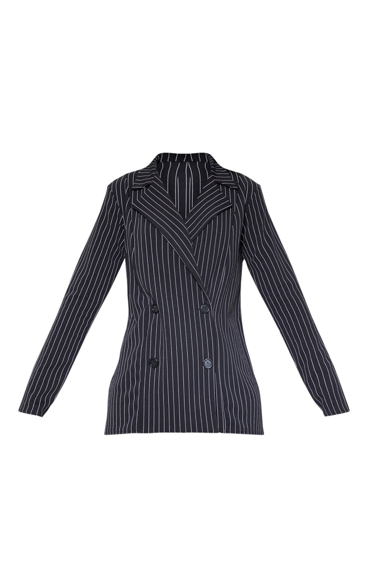 Black Pinstripe Double Breasted Blazer 3