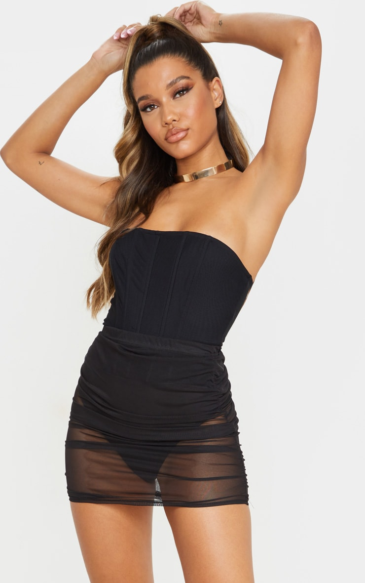Black Mesh Ruched Mini Skirt 5