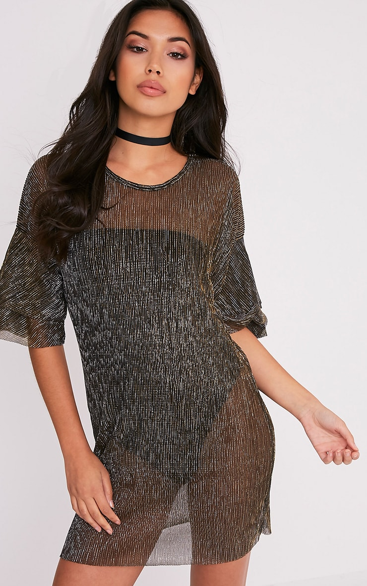 Savanah Black Pleated Glitter T-Shirt Dress 1