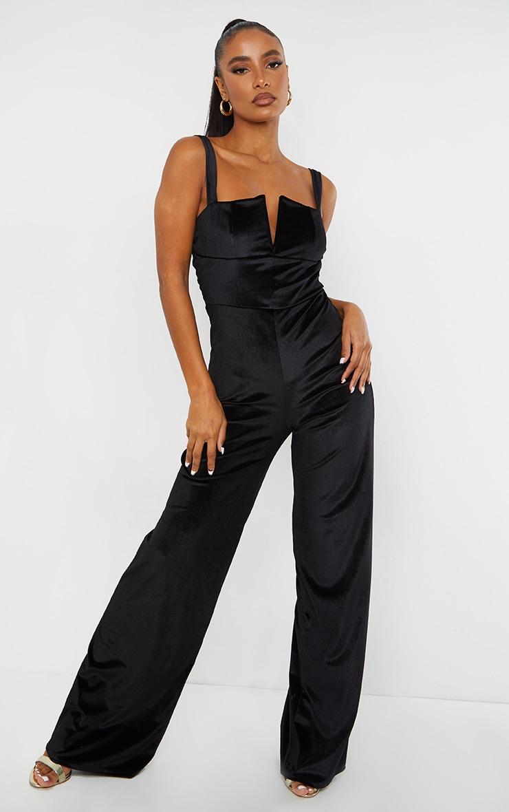Black Velvet V Bar Strappy Wide Leg Jumpsuit 5