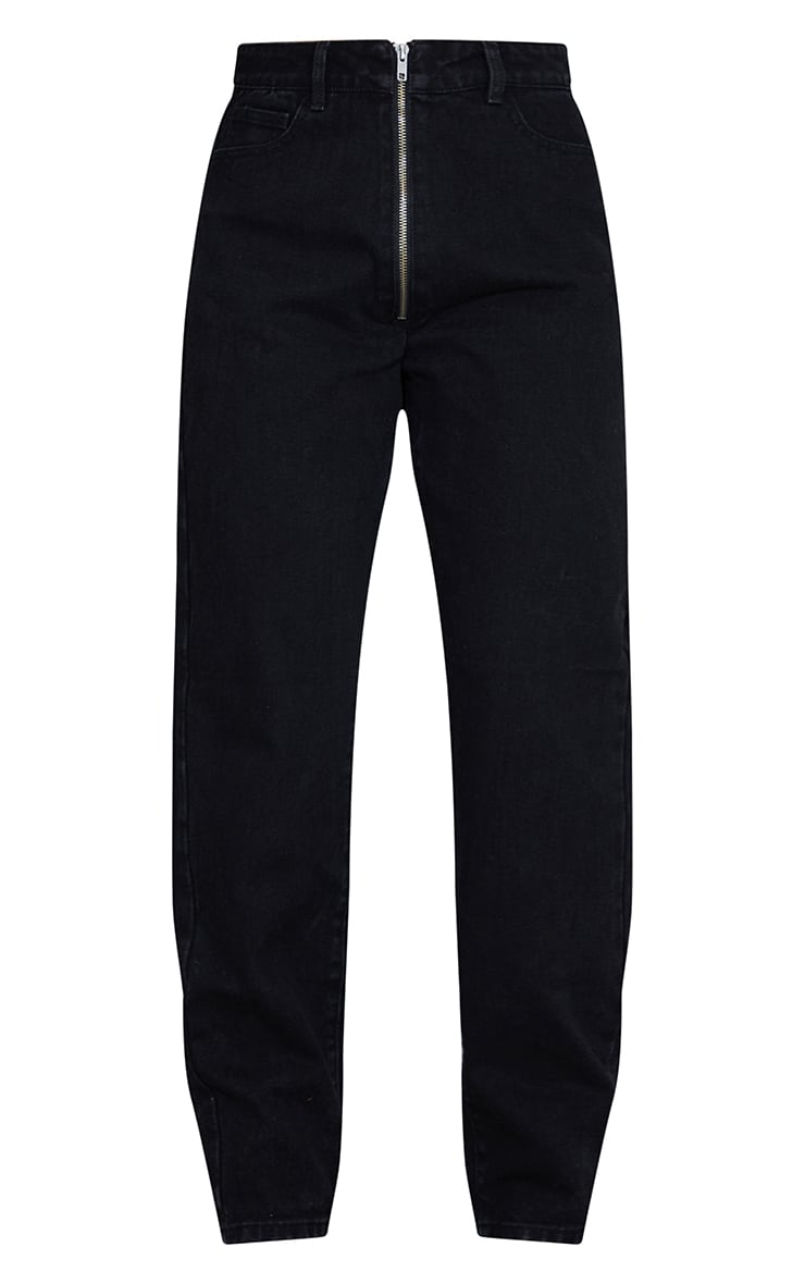 Washed Black Bum Zip Detail Mom Jeans 5