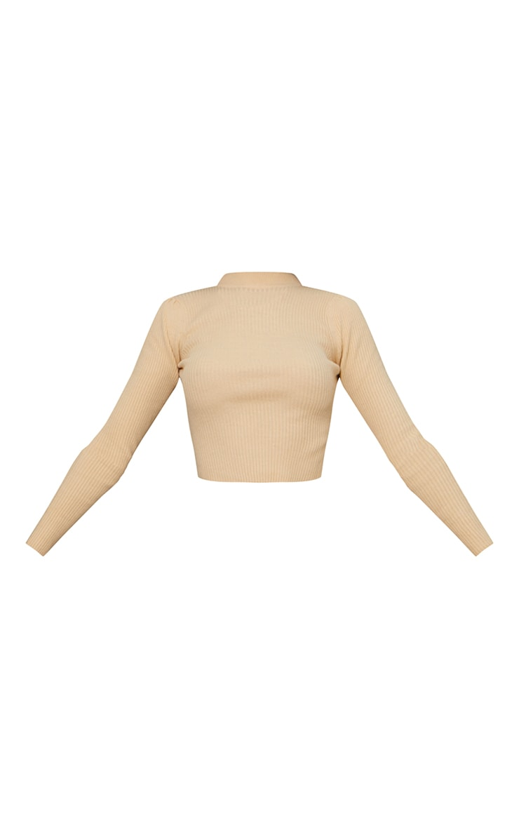 Beige Cropped Ribbed Knitted Turtle Neck Sweater 5