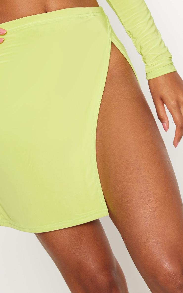 Lime Slinky Split Front Mini Skirt 6