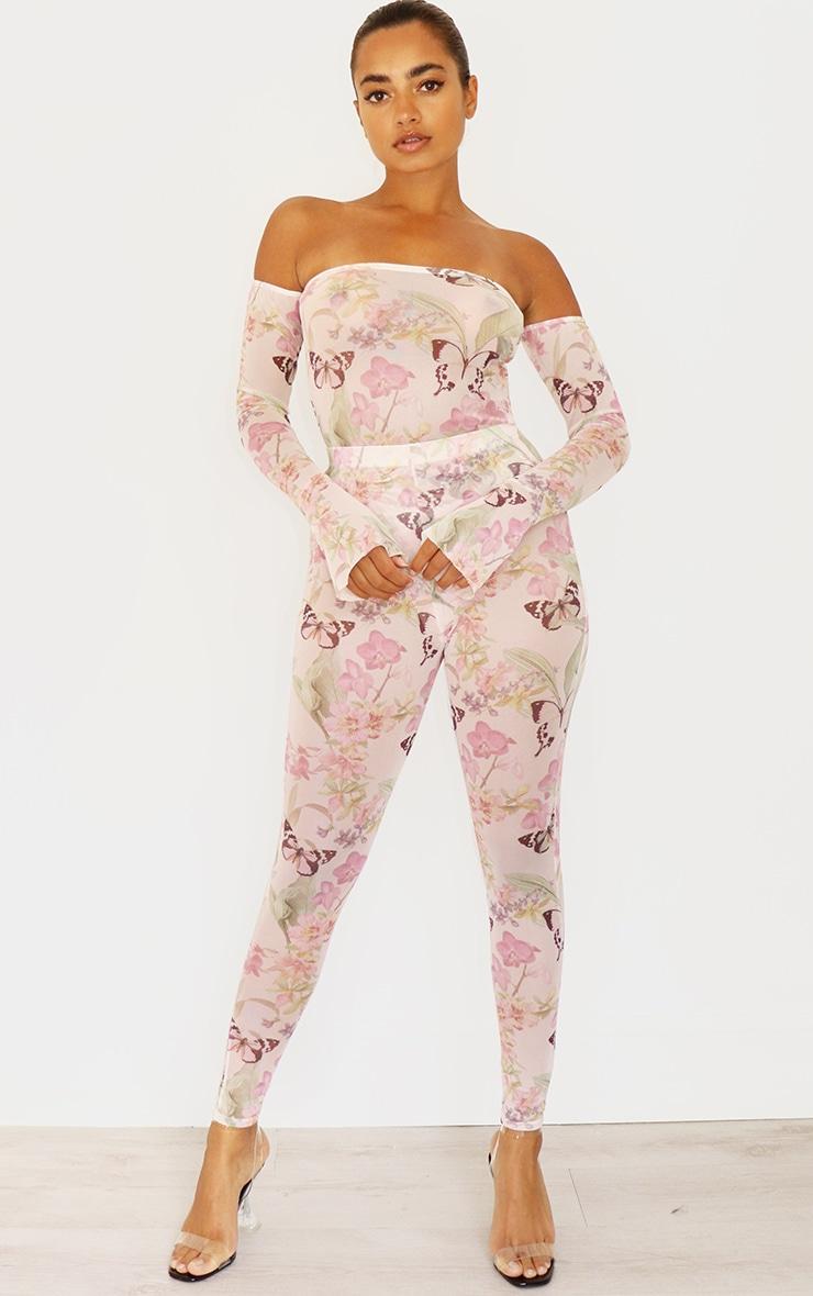 Petite Pink Butterfly Print Mesh Leggings 1