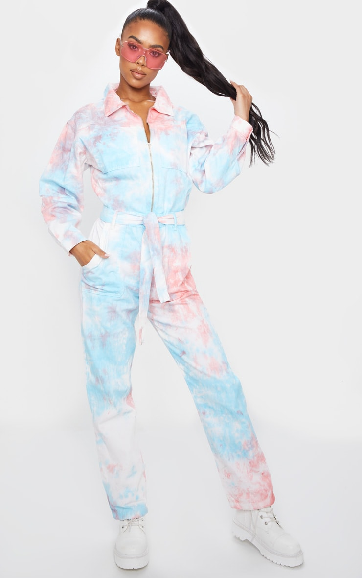 Multi Tie Dye Oversized Denim Jumpsuit 1