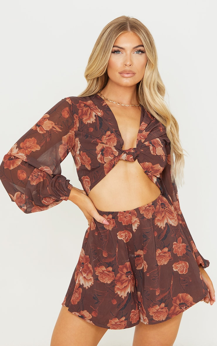 Chocolate Floral Print Knot Bust Long Sleeve Romper 1