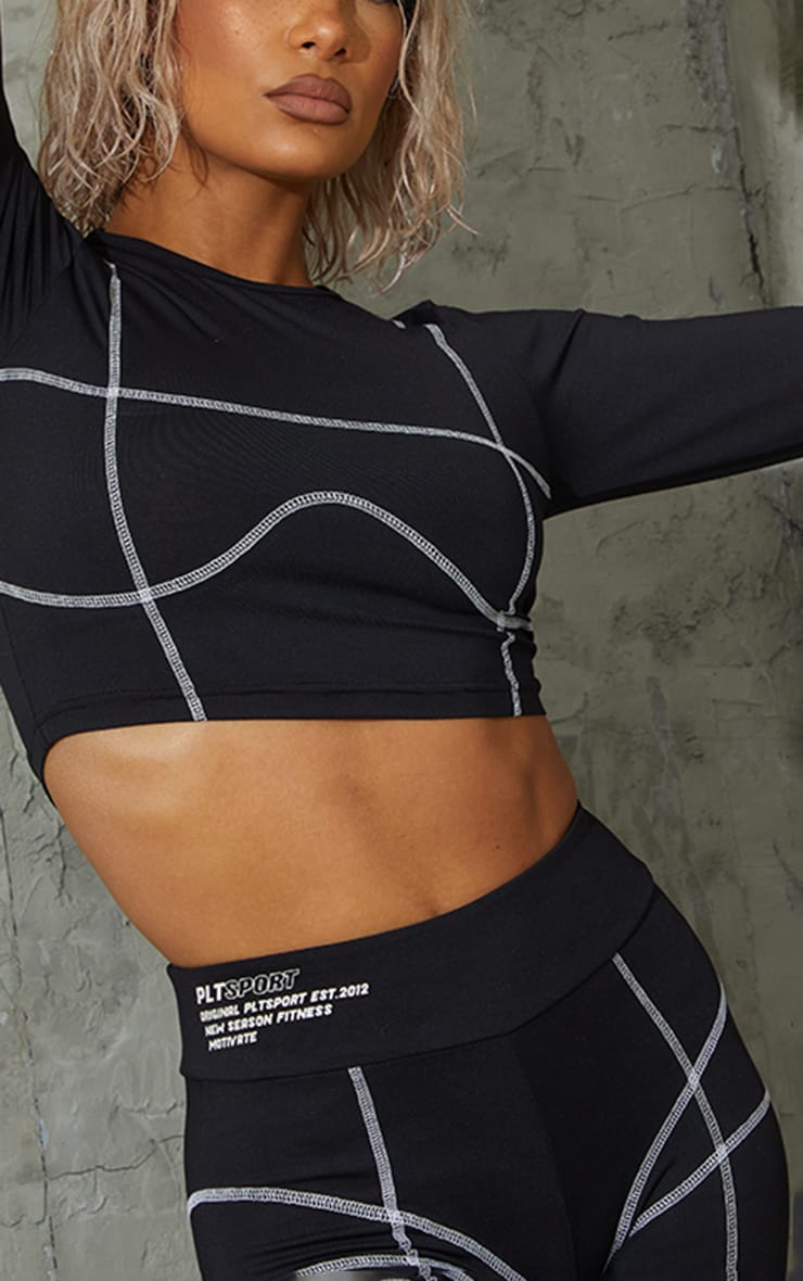 Black Stitch Detail Long Sleeve Cropped Gym Top 4