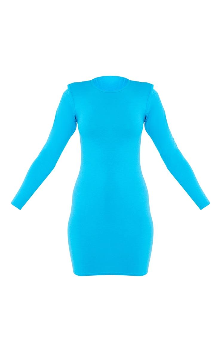 Blue Long Sleeve Shoulder Pad Bodycon Dress 5