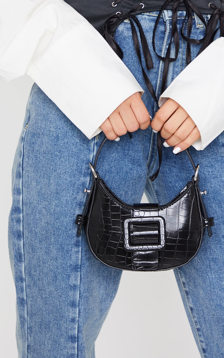 Black Croc Mini Buckle Grab Bag 2