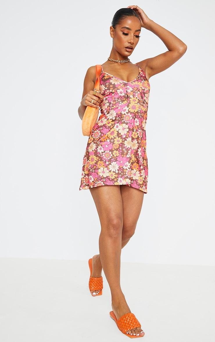 Brown Retro Floral Print Binding Detail Tie Strap Shift Dress 3