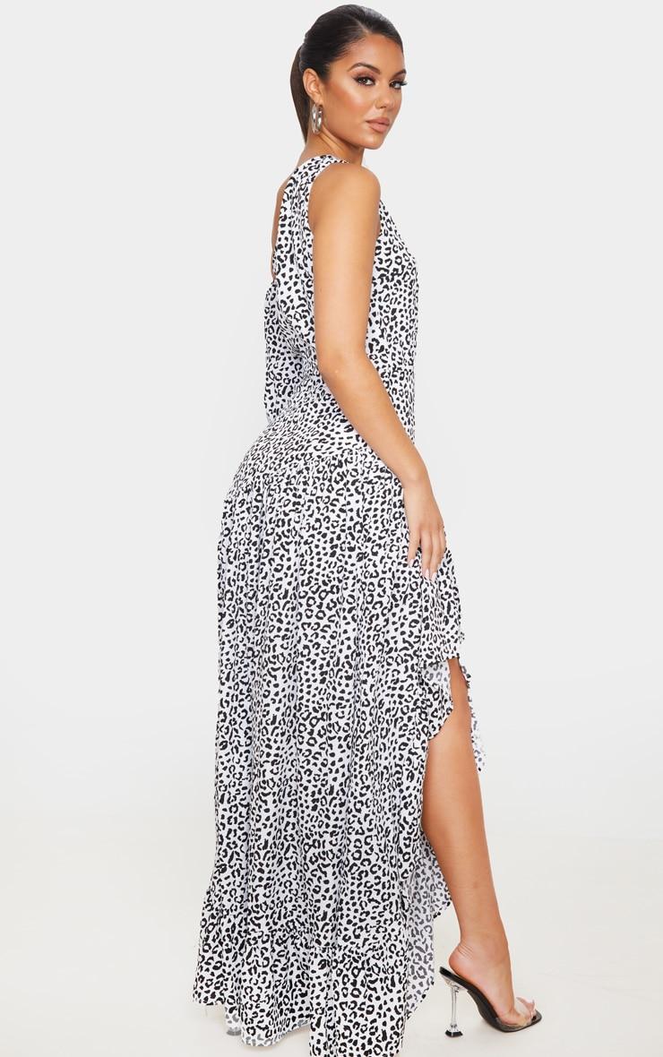 White Leopard Print One Shoulder Frill Detail Maxi Dress 2