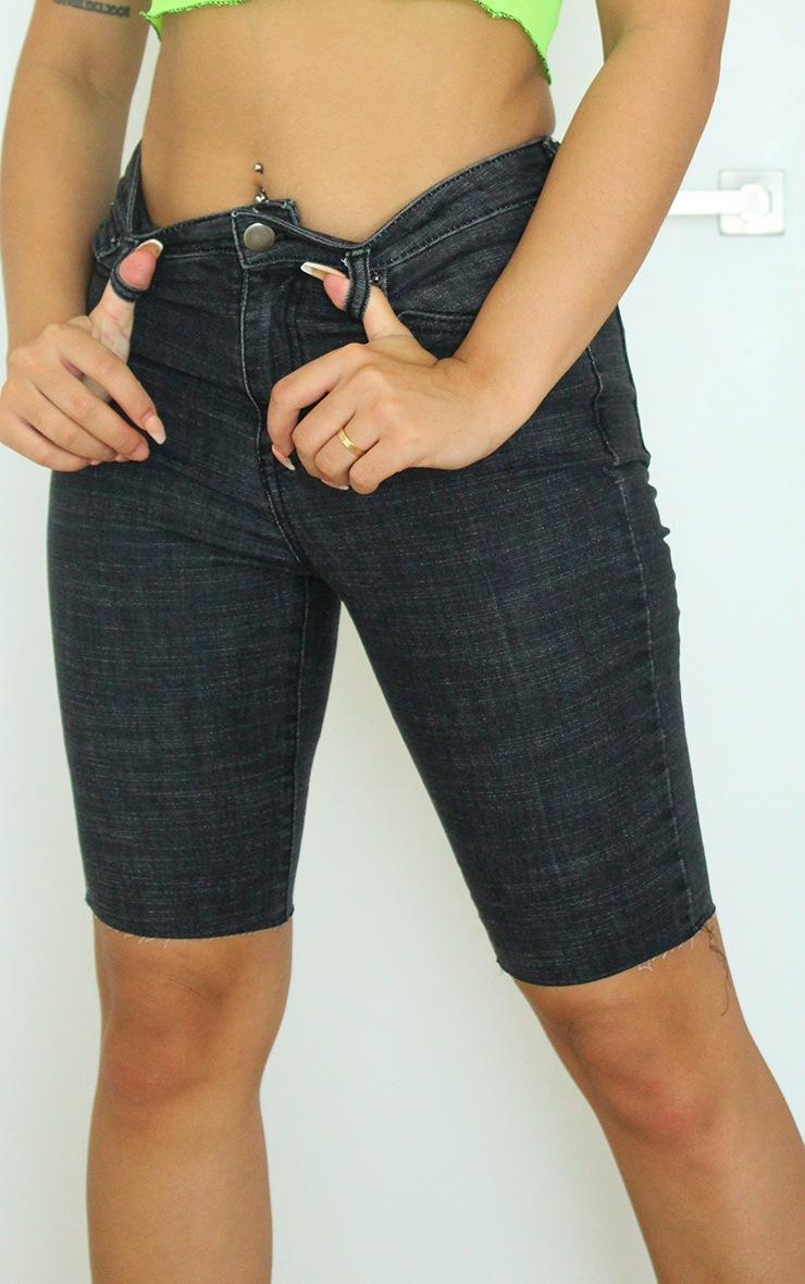 Washed Black Denim Bike Shorts 5