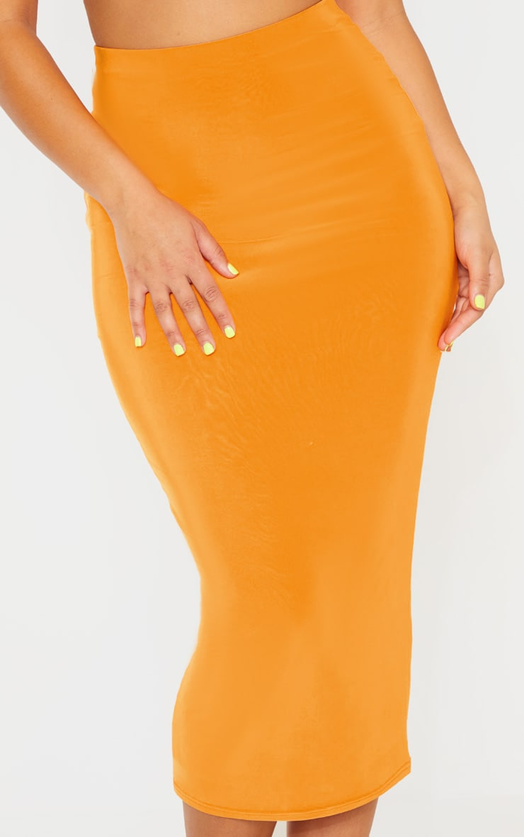 Hot Orange Second Skin Slinky Longline Midi Skirt 4
