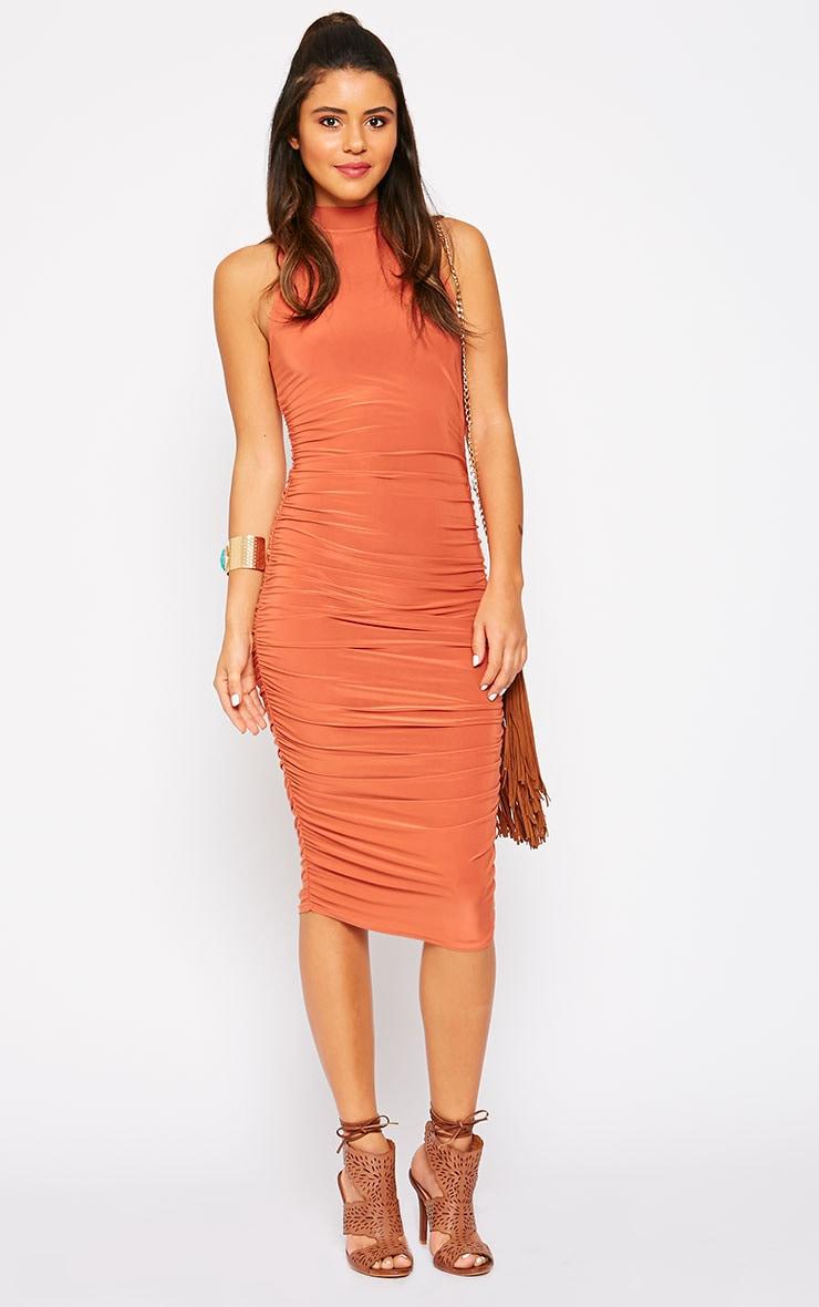 Alabama Rust Slinky High Neck Ruched Sides Dress 1