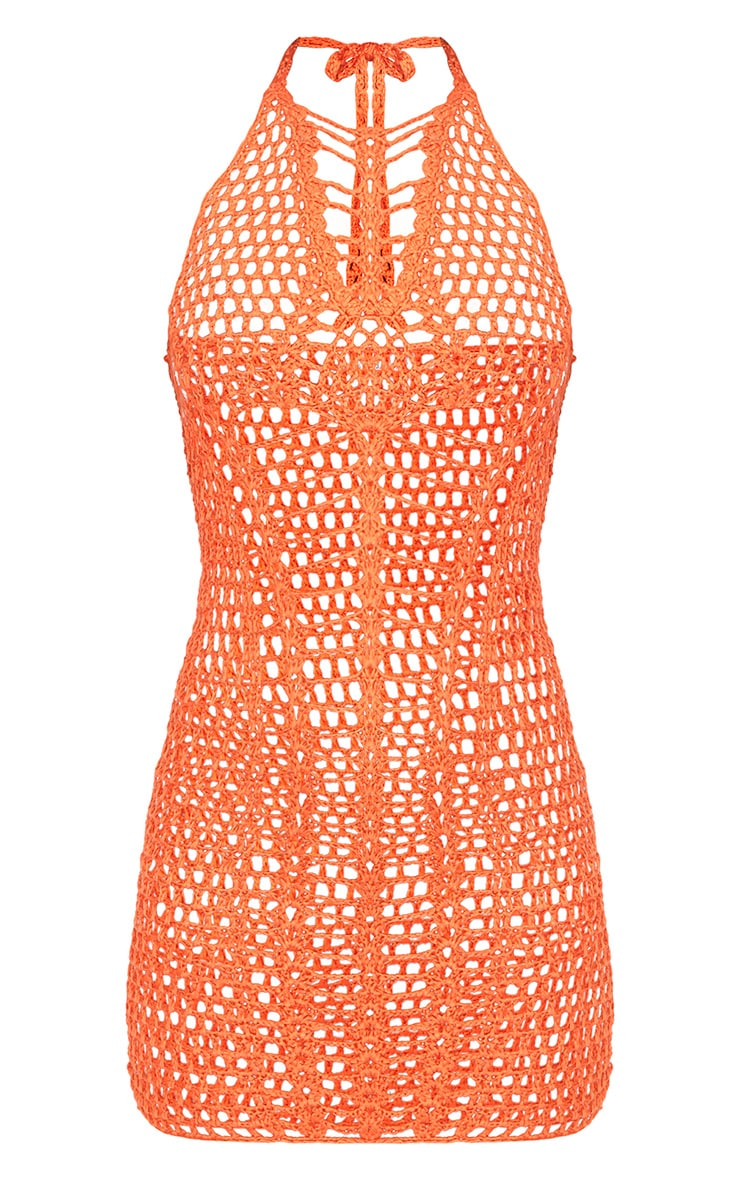 Orange Halterneck Ladder Detail Crochet Mini Dress 3