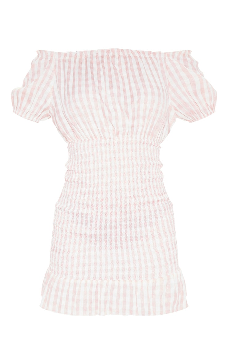 Pink Gingham Shirred Bardot Bodycon Dress 3