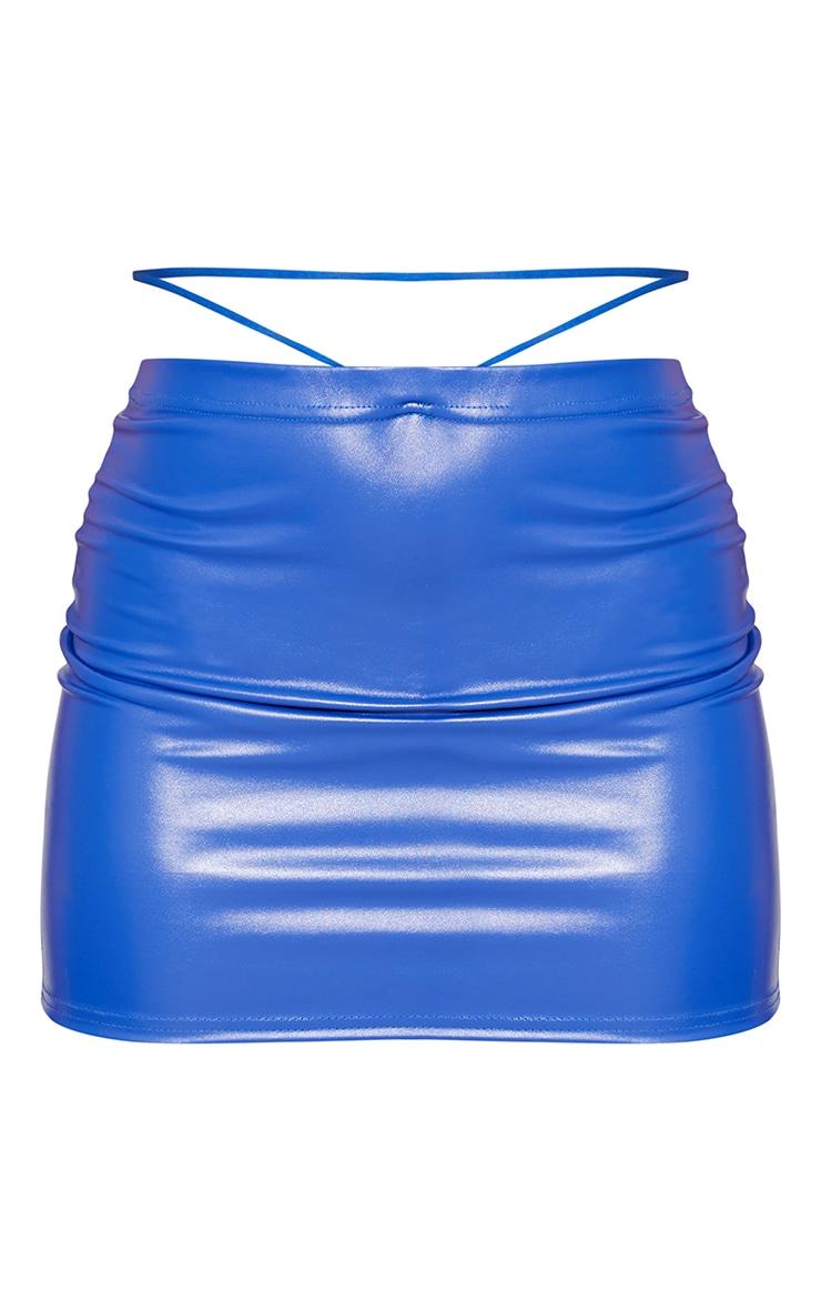 Cobalt Faux Leather Cut Out Waist Tie Mini Skirt 6