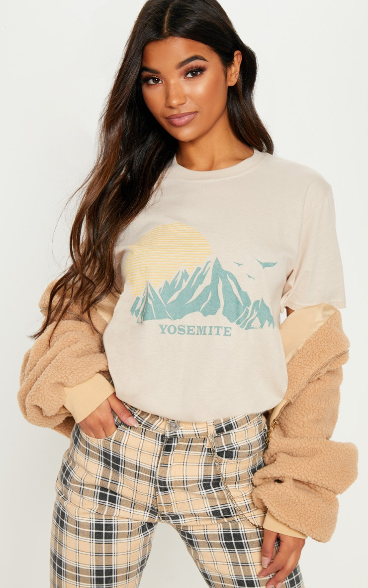 Sand Yosemite Printed Oversized T Shirt by Prettylittlething