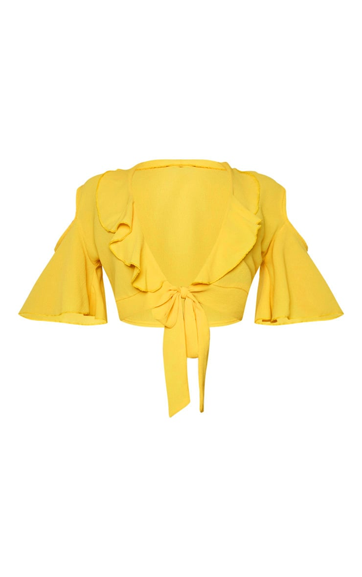 Yellow Chiffon Frill Detail Tie Front Crop Blouse 5