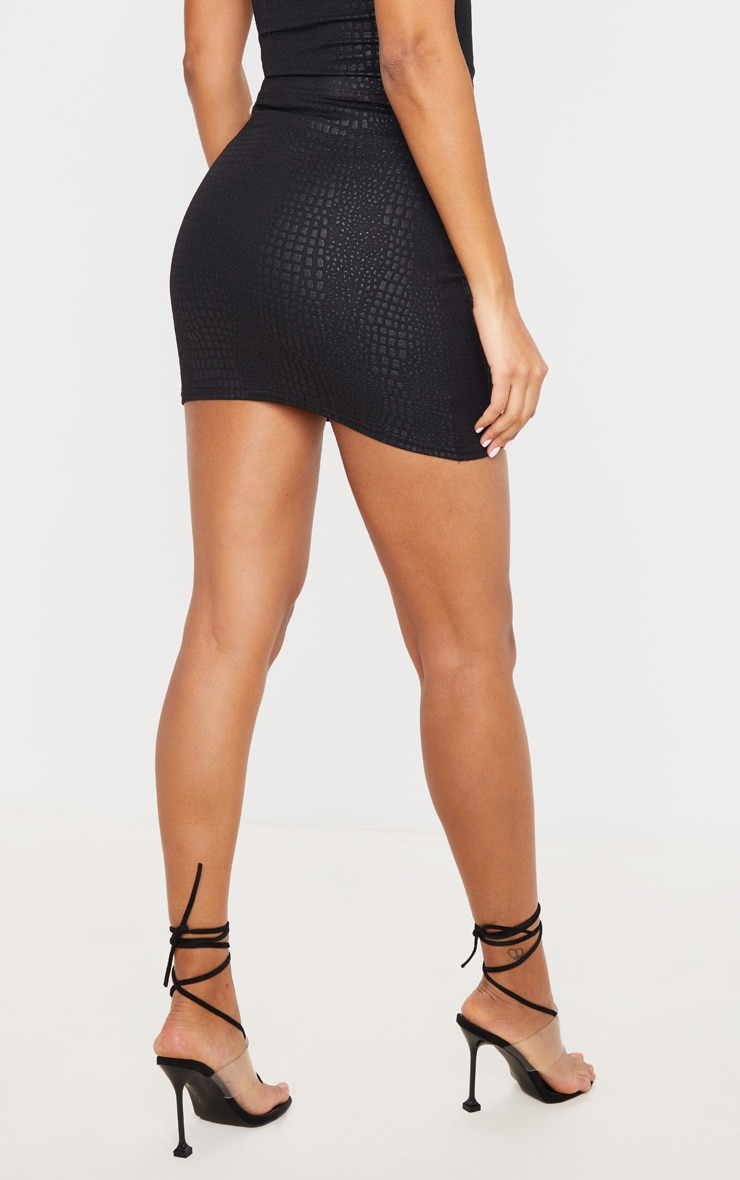 Black Croc Print Bodycon Mini Skirt 3