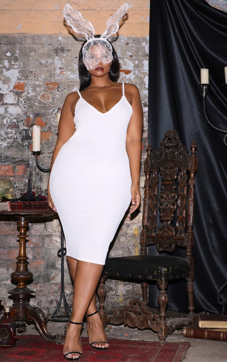 Plus White Ribbed Plunge Midi Dress  1
