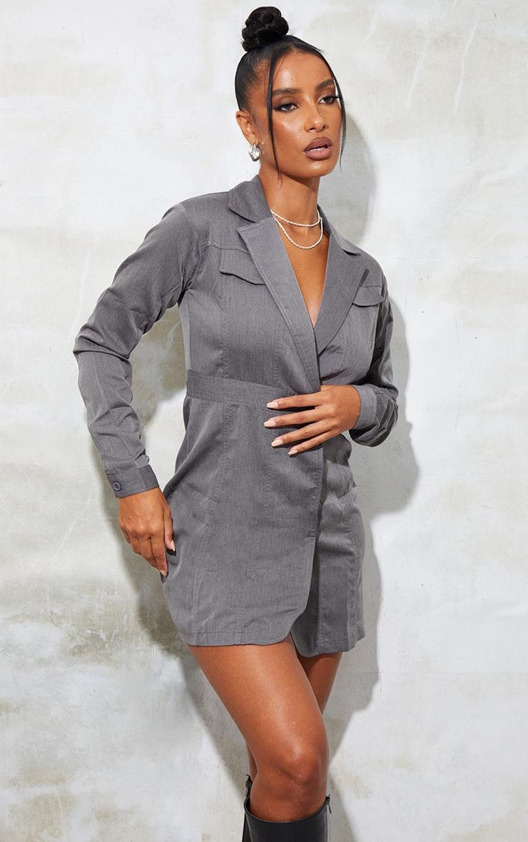 Grey Woven Binding Button Detail Blazer Dress 3