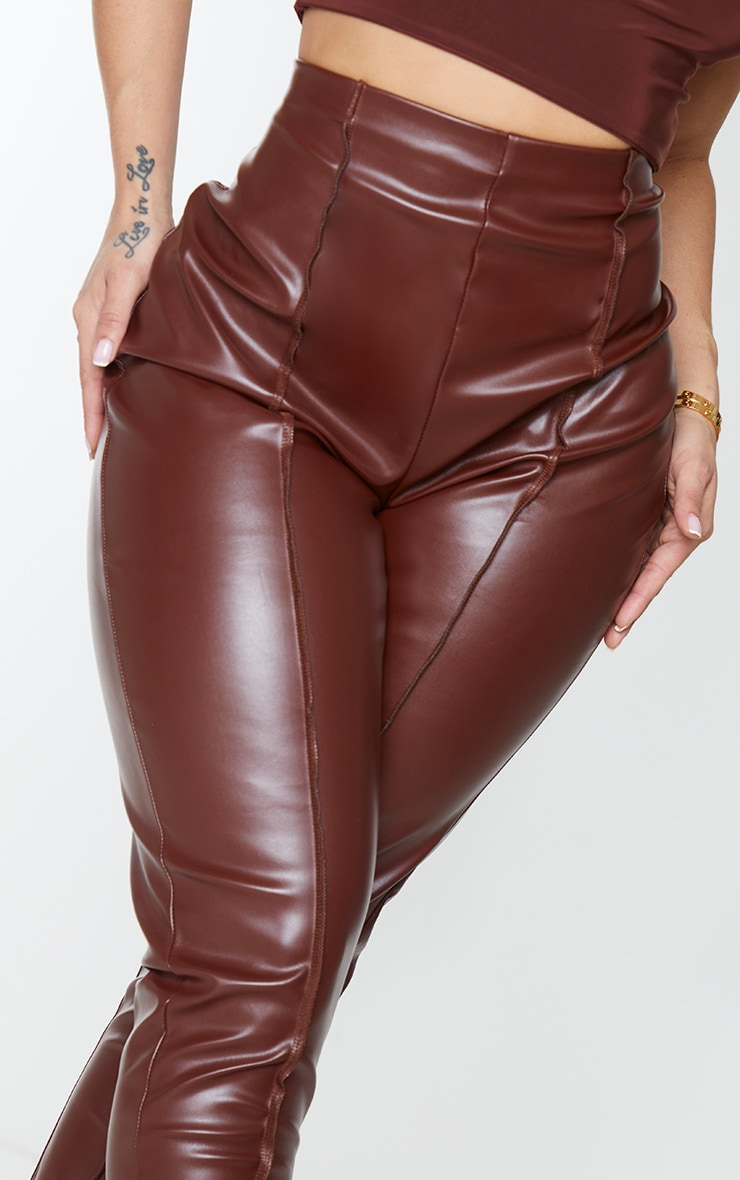 Shape Chocolate Brown PU Seam Detail High Waist Trousers 4