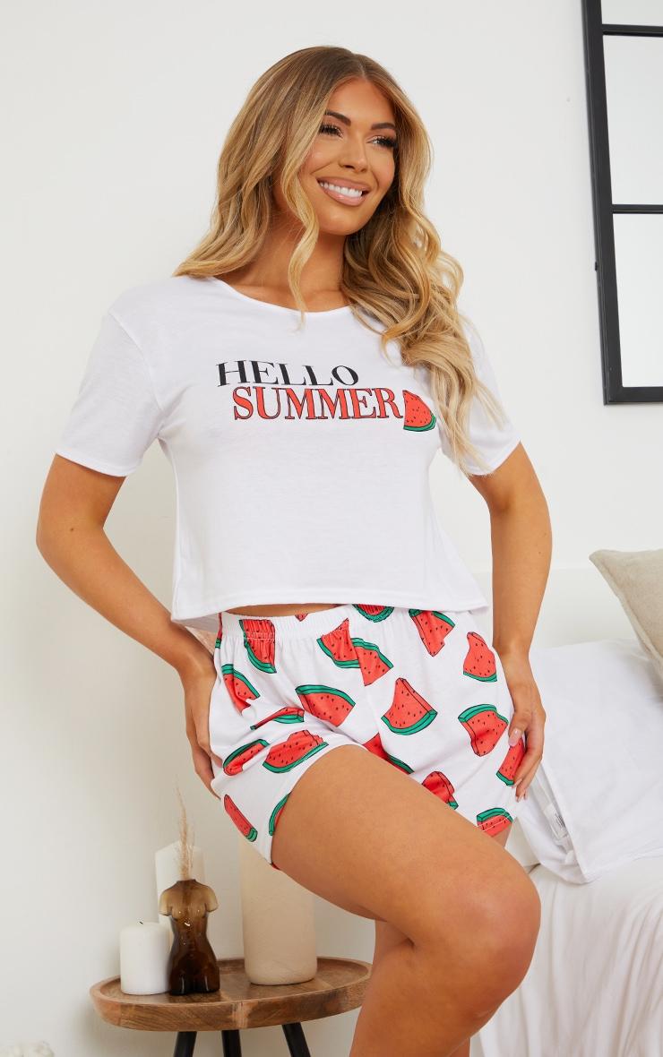 Red Hello Summer Watermelon Short PJ Set 1