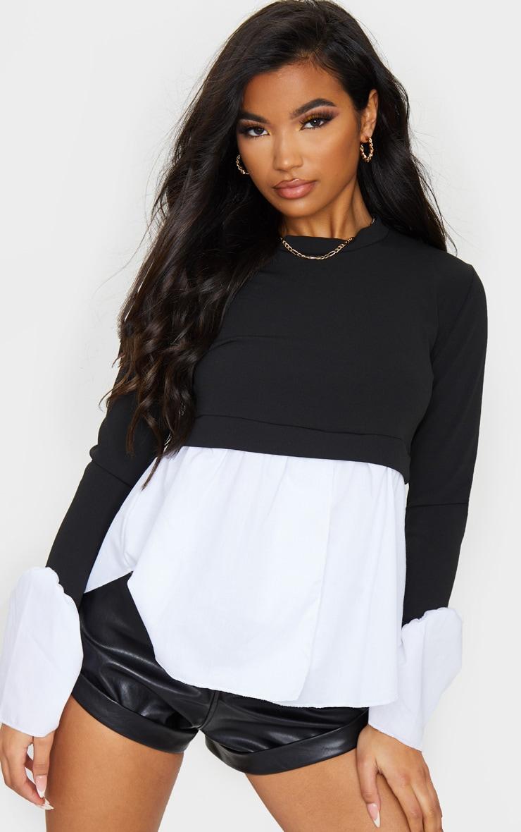 Black Scuba Peplum Sweater 1