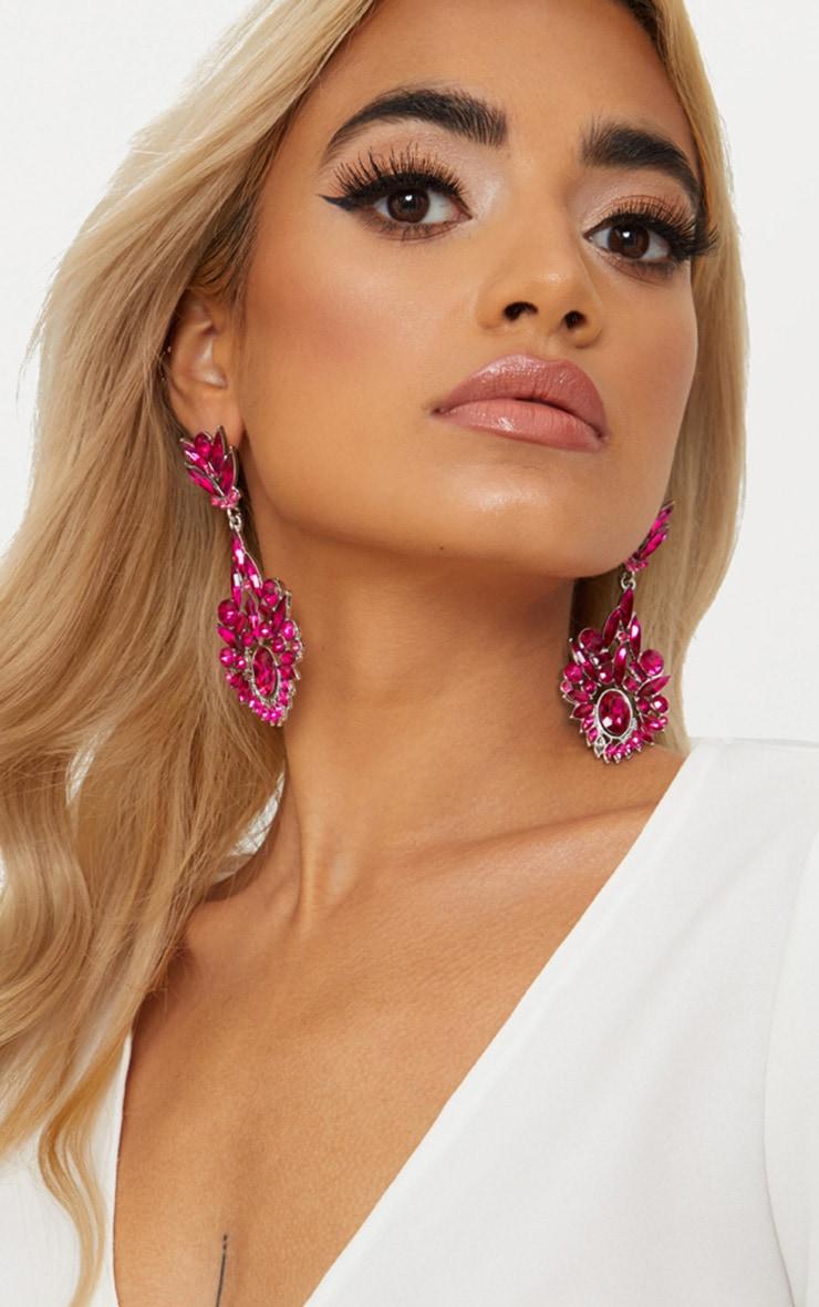 Bright Pink Diamante Detail Drop Earrings 2