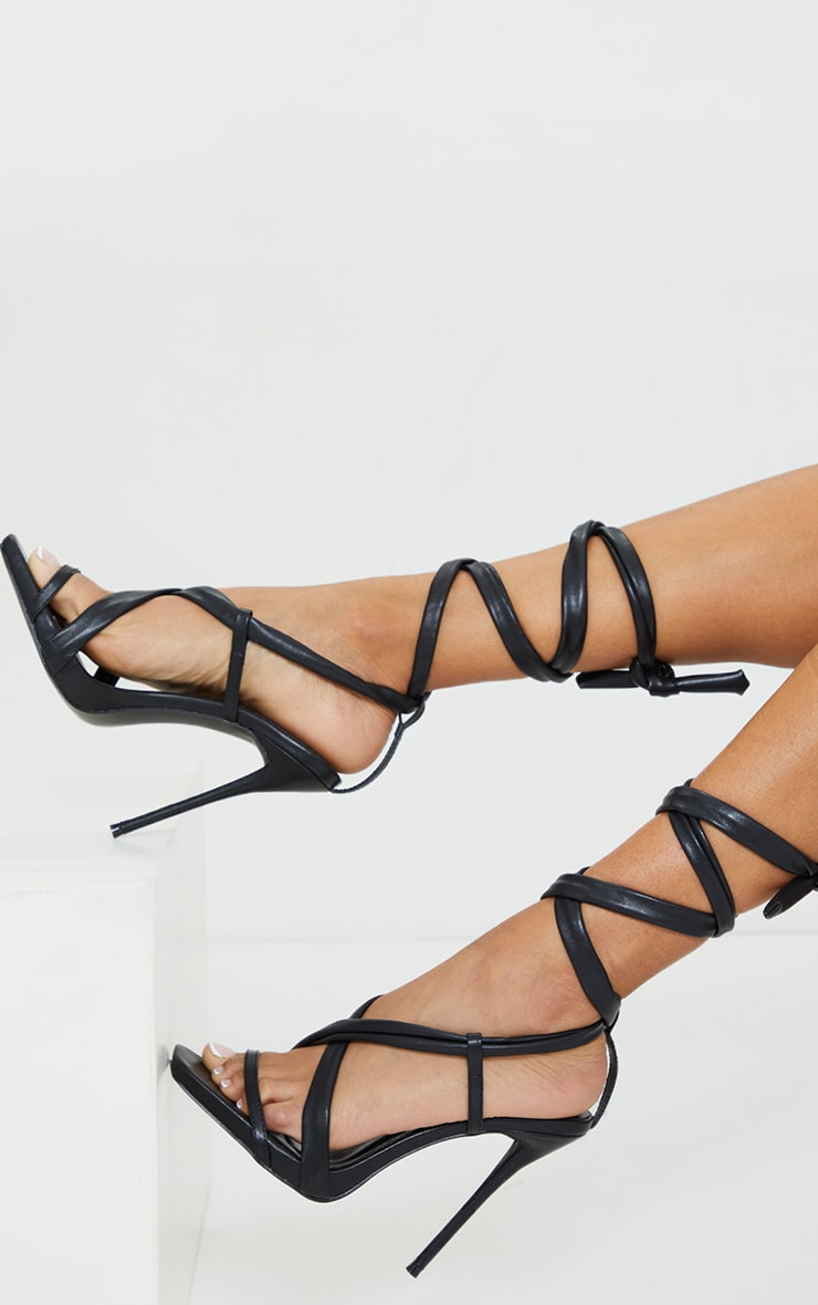 Black PU Lace Up Square Toe High Heel 2