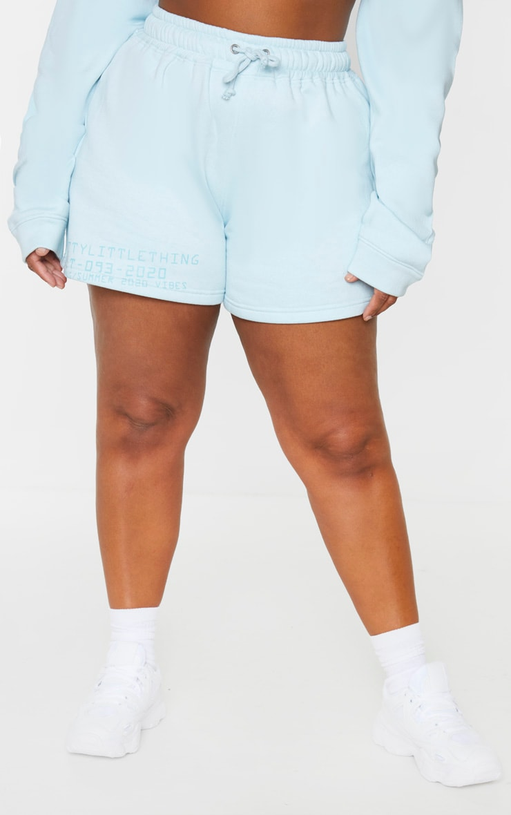 PRETTYLITTLETHING Plus Dusty Blue Sweat Shorts 2