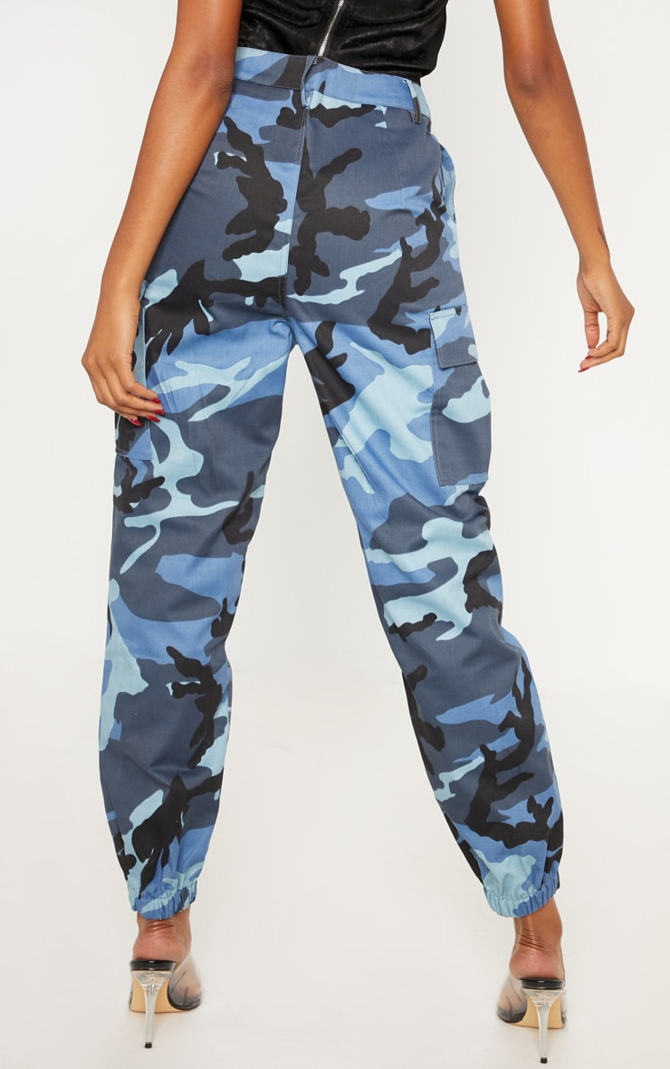 Blue Camo Pocket Detail Cargo Trousers 4