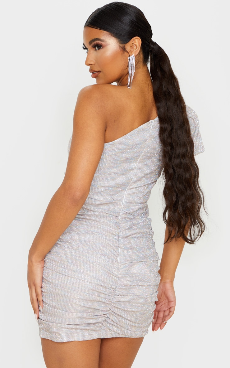 Multi Glitter Puff Sleeve Ruched Bodycon Dress 2