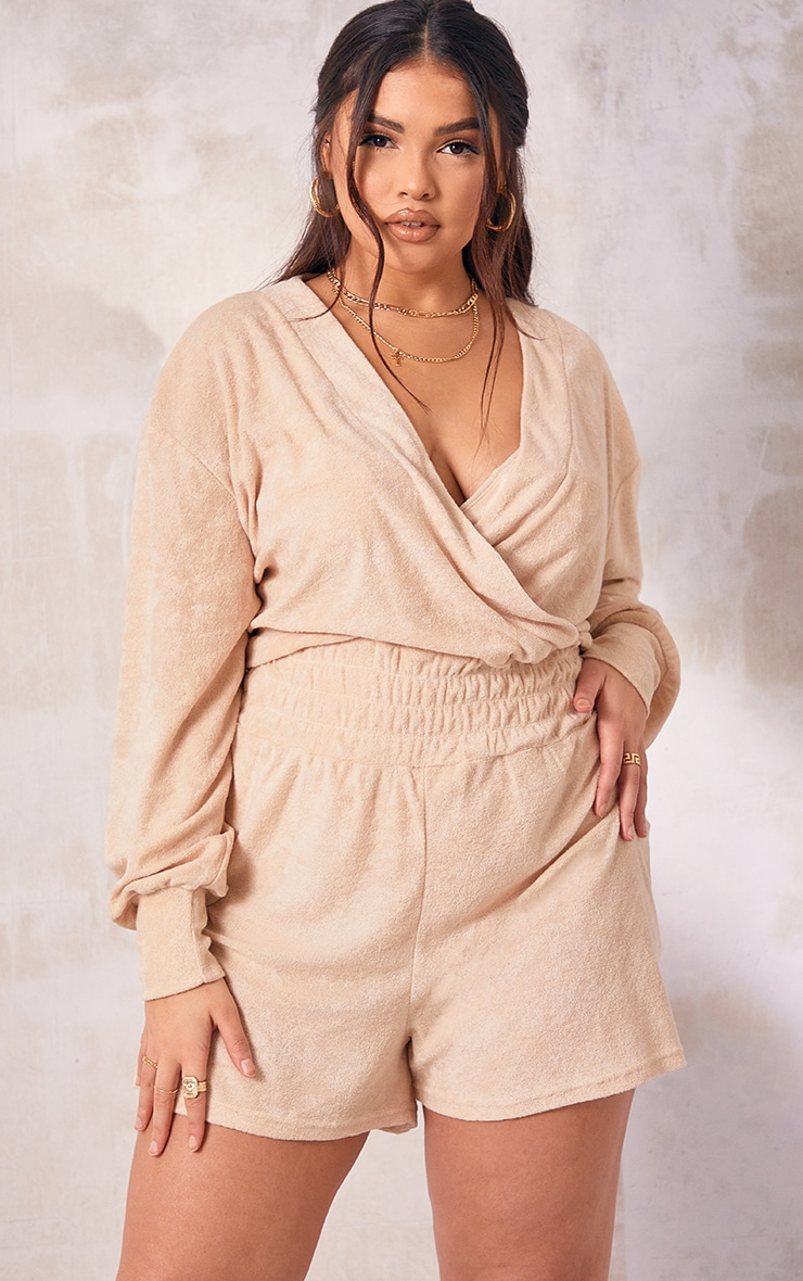 Plus Stone Towling Ruched Waist Playsuit